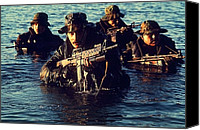 1980s Canvas Prints - Us Navy Seal Team Emerges From Water Canvas Print by Everett