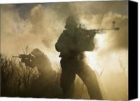 Navy Seals Canvas Prints - U.s. Navy Seals During A Combat Scene Canvas Print by Tom Weber