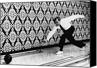 20th Century Canvas Prints - U.s. President Richard Nixon, Bowling Canvas Print by Everett
