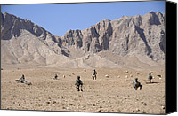 Insurgency Canvas Prints - U.s. Soldiers With Take A Security Halt Canvas Print by Everett