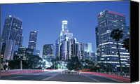 Downtown Los Angeles Canvas Prints - Usa, California, Los Angeles, Downtown At Night (long Exposure) Canvas Print by Hisham Ibrahim