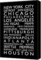 Text Map Canvas Prints - USA Cities Bus Roll Canvas Print by Michael Tompsett