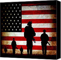 Patriotism Mixed Media Canvas Prints - USA Military Canvas Print by Angelina Vick