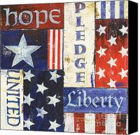 Red White Blue Canvas Prints - USA Pride 1 Canvas Print by Debbie DeWitt