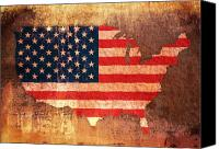 United States Mixed Media Canvas Prints - USA Star and Stripes Map Canvas Print by Michael Tompsett