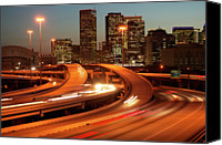 Long Street Canvas Prints - Usa, Texas, Houston City Skyline And Motorway, Dusk (long Exposure) Canvas Print by George Doyle