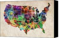 States Map Canvas Prints - USA Watercolor Map Canvas Print by Michael Tompsett