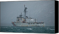 Kodiak Canvas Prints - USCG Alex Haley Cutter in the fog Canvas Print by Sam Amato