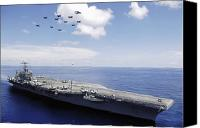 Abraham Lincoln Photo Canvas Prints - Uss Abraham Lincoln And Aircraft Canvas Print by Stocktrek Images
