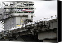 Second Gulf War Canvas Prints - Uss Abraham Lincoln Arrives At San Canvas Print by Everett