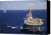Naval Warfare Canvas Prints - Uss Boxer Leads A Convoy Of Ships Canvas Print by Stocktrek Images