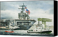 Uss Carl Vinson Greeting Cards Canvas Prints - Uss Carl Vinson Canvas Print by James Williamson