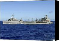 Warship Canvas Prints - Uss Denver And Usns Pecos Conduct Canvas Print by Stocktrek Images