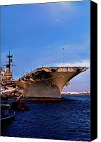 1987 Canvas Prints - USS Forrestal CV-59 Canvas Print by Thomas R Fletcher