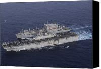 Warship Canvas Prints - Uss Kearsarge Pulls Alongside Usns Canvas Print by Stocktrek Images