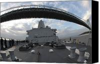 Warship Canvas Prints - Uss New York Passes Under The Viracosis Canvas Print by Stocktrek Images