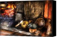Pans Canvas Prints - Utensils - Colonial Kitchen Canvas Print by Mike Savad