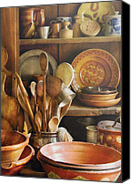 Wooden Bowls Photo Canvas Prints - Utensils - Remembering Momma Canvas Print by Mike Savad