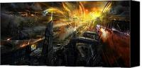 Science Fiction Mixed Media Canvas Prints - Utherworlds Battlestar Canvas Print by Philip Straub