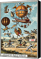 Baloons Canvas Prints - Utopian flying machines of the 19th century Canvas Print by Pg Reproductions