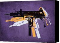Gun Canvas Prints - Uzi Sub Machine Gun on Purple Canvas Print by Michael Tompsett
