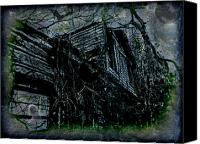 Creepy Digital Art Canvas Prints - Vacancy at the Inn Canvas Print by Leslie Revels Andrews