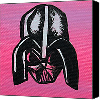 Caricature Painting Canvas Prints - Vader in Pink Canvas Print by Jera Sky