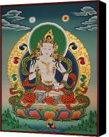Tibetan Canvas Prints - Vajrasattva Canvas Print by Sergey Noskov