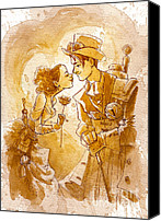 Love Painting Canvas Prints - Valentine Canvas Print by Brian Kesinger