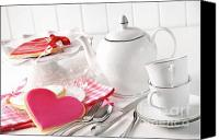 Decorate Canvas Prints - Valentine cookies with teapot and cups Canvas Print by Sandra Cunningham