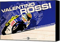 Motogp Canvas Prints - Valentino Rossi - MotoGP 2009 Canvas Print by Evan DeCiren
