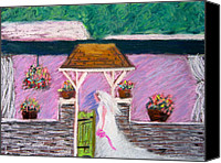 Fairmount Park Painting Canvas Prints - Valley Green Bride Canvas Print by Marita McVeigh
