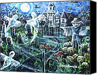 Haunted House Mixed Media Canvas Prints - Vampire Lane Canvas Print by Shana Rowe