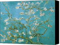 Still Life Tapestries Textiles Canvas Prints - Van Gogh Blossoming Almond Tree Canvas Print by Vincent Van Gogh