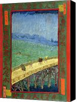 Vincent Van Gogh Canvas Prints - Van Gogh Bridge in Rain after Hiroshige Canvas Print by Vincent Van Gogh