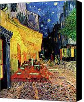 Impressionist Canvas Prints - Van Gogh Cafe Terrace Place du Forum at Night Canvas Print by Vincent Van Gogh