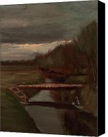 Vincent Van Gogh Canvas Prints - Van Gogh Ditch and Small Bridge Canvas Print by Vincent Van Gogh