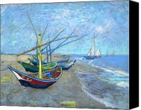 Art Education Canvas Prints - Van Gogh Fishing Boats Saintes Maries Canvas Print by Vincent Van Gogh