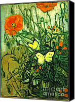 Starry Canvas Prints - Van Gogh Poppies And Butterflies Canvas Print by Pg Reproductions