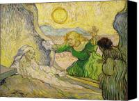 Vincent Van Gogh Canvas Prints - Van Gogh Raising of Lazarus after Rembrandt Canvas Print by Vincent Van Gogh