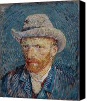 Vincent Van Gogh Canvas Prints - Van Gogh Self Portrait Grey Felt Hat Canvas Print by Vincent Van Gogh