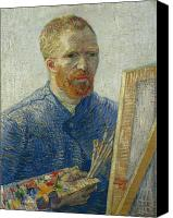 Vincent Van Gogh Canvas Prints - Van Gogh Self Portrait in Front of Easel Canvas Print by Vincent Van Gogh