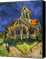 Starry Canvas Prints - Van Gogh The Church at Auvers Canvas Print by Pg Reproductions