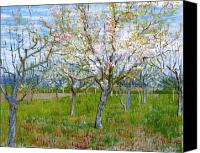 Vincent Van Gogh Canvas Prints - Van Gogh The Pink Orchard Canvas Print by Vincent Van Gogh