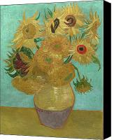 Vincent Van Gogh Canvas Prints - Van Gogh Vase with Twelve Sunflowers  Canvas Print by Vincent Van Gogh
