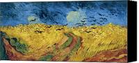 Art Education Canvas Prints - Van Gogh Wheatfield with Crows Canvas Print by Vincent Van Gogh