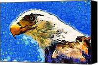 Made In The Usa Digital Art Canvas Prints - Van Gogh.s American Eagle Under A Starry Night . 40D6715 Canvas Print by Wingsdomain Art and Photography