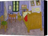 Simple Painting Canvas Prints - Van Goghs Bedroom at Arles Canvas Print by Vincent Van Gogh