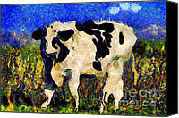 Starry Night Canvas Prints - Van Gogh.s Big Bull . 7D12437 Canvas Print by Wingsdomain Art and Photography