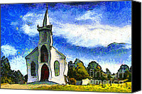 Old Town Digital Art Canvas Prints - Van Gogh.s Church On The Hill 7D12437 Canvas Print by Wingsdomain Art and Photography